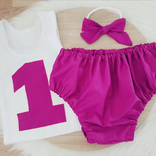 Girls 1st Birthday - Cake Smash Outfit, Size 1, Nappy Cover, Headband & Singlet Set - Grape