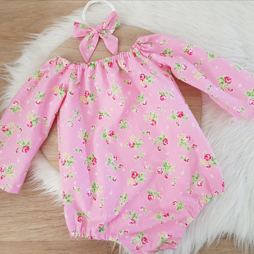Girls Cake Smash, 1st Birthday, Long Sleeve Playsuit & Headband Set, Size 1, Pink Floral