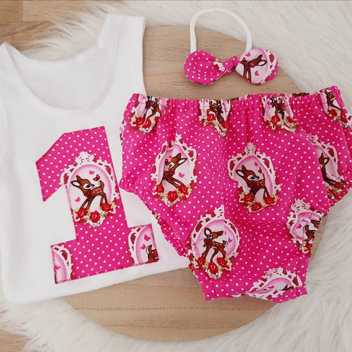 Size 1, Nappy Cover, Headband & Singlet Set - Vintage Deer / BAMBI