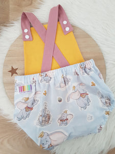 Size 1 Baby Romper, 1st Birthday / Cake Smash Outfit - DUMBO