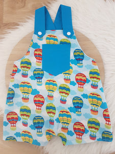 Size 1 Baby Overalls, Short Leg Romper / 1st Birthday / Cake Smash Outfit - HOT AIR BALLOONS
