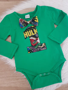 MARVEL / HULK print Boys First Birthday LONG Sleeve Bodysuit with bow tie, Size 1/2, 1st Birthday Outfit