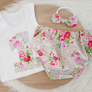 FLOWER SHOP Girls 1st Birthday - Cake Smash Outfit, Size 1, Nappy Cover, Headband & Singlet Set