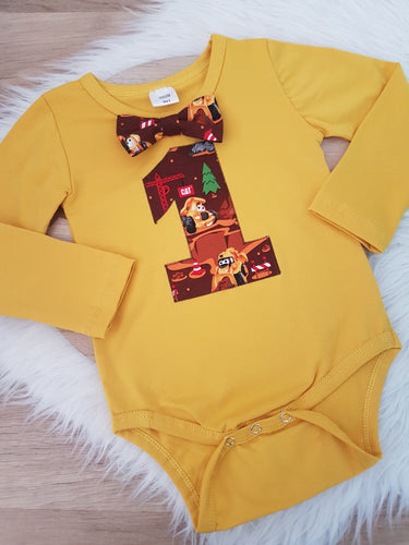 CAT CONSTRUCTION Boys First Birthday LONG Sleeve Bodysuit with bow tie, Size 1/2, 1st Birthday Outfit