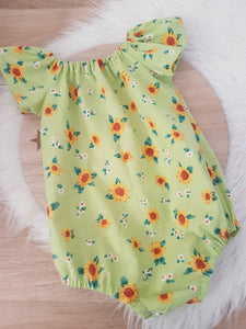 Sunflowers - Girls Cake Smash, 1st Birthday, Playsuit, Size 1