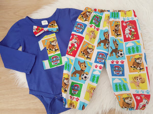 PAW PATROL print - Baby Boy 1st Birthday Long Sleeve Bodysuit with bow tie and Harem Pants, Size 1/2