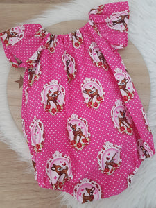 Girls Cake Smash, 1st Birthday, Playsuit, Size 1, Vintage Deer / Bambi