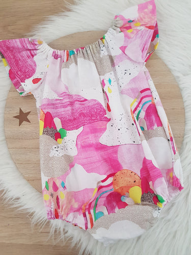 Girls Cake Smash, 1st Birthday, Playsuit, Size 0, WATERCOLOURS