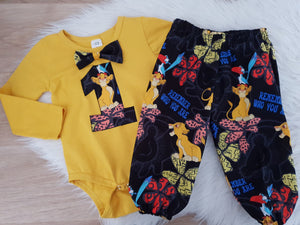 LION KING print - Baby Boy 1st Birthday Long Sleeve Bodysuit with bow tie and Harem Pants, Size 1/2