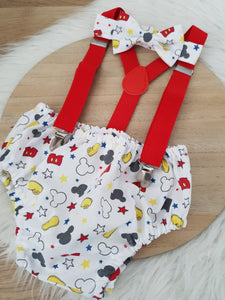 MICKEY print - Boys Cake Smash Outfit, First Birthday Outfit, Size 0, 3 Piece Set
