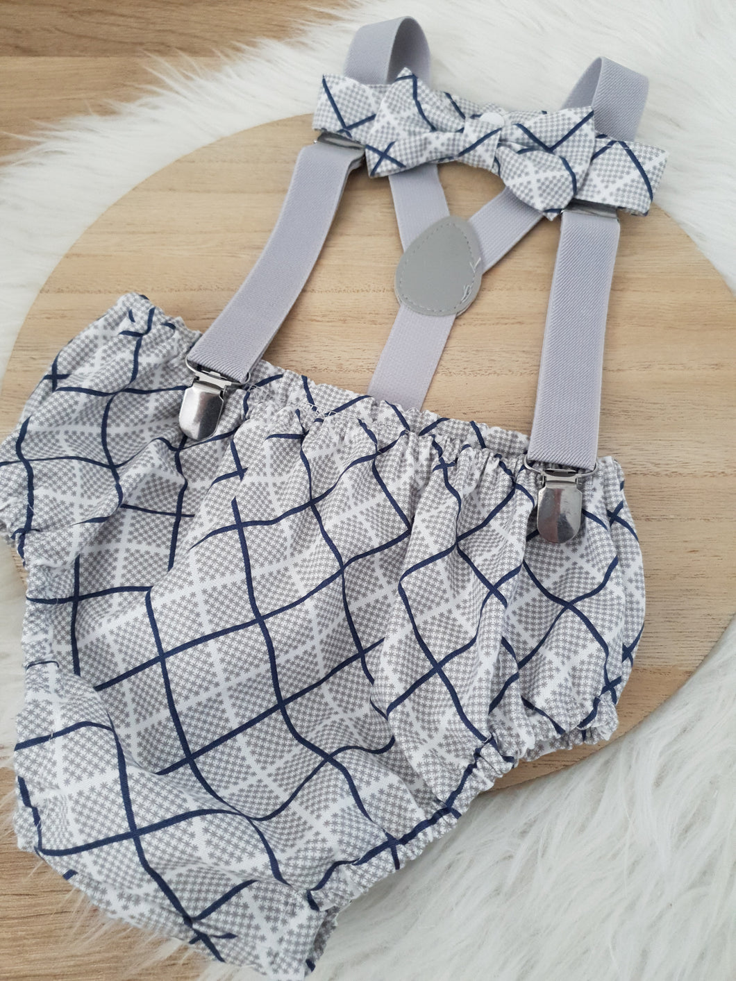 GREY / NAVY PLAID - Boys Cake Smash Outfit, First Birthday Outfit, Size 1, 3 Piece Set