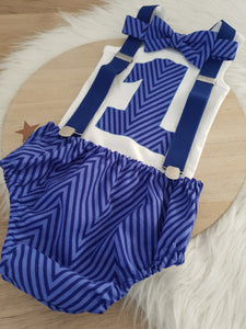 ROYAL BLUE CHEVRONS - Boys 1st Birthday - Cake Smash Outfit - Size 0, Nappy Cover, Tie, Singlet & Suspenders Set