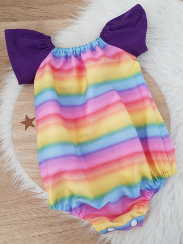RAINBOW print - Girls Cake Smash, 1st Birthday, Playsuit (with snap crutch), Size 1