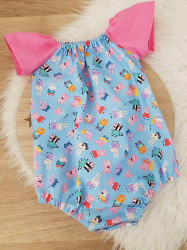 PEPPA PIG print - Girls Cake Smash, 1st Birthday, Playsuit (with snap crutch), Size 1