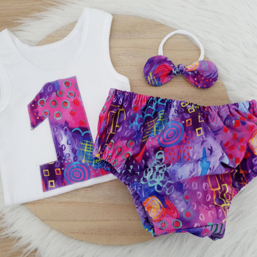 MAJESTIC - Girls 1st Birthday - Cake Smash Outfit, Size 0, Nappy Cover, Headband & Singlet Set