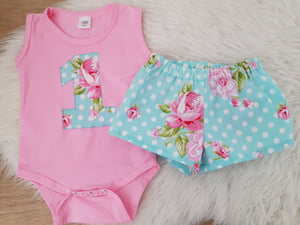Blue Floral - Girls 1st Birthday Short and Sleeveless Bodysuit Set, Size 1
