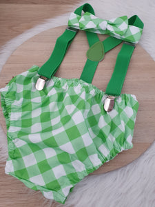 GREEN GINGHAM - Boys Cake Smash Outfit, First Birthday Outfit, Size 0, 3 Piece Set