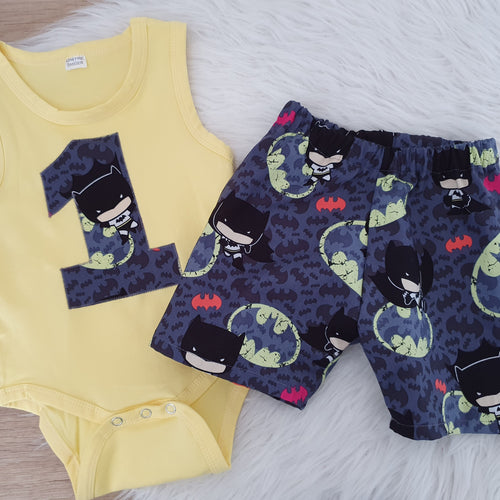 BABY BATMAN print - 1st Birthday Outfit - Shorts and Sleeveless Bodysuit Set, Size 0