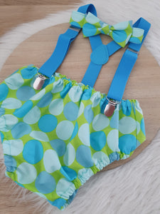 BLUE & GREEN SPOT - Boys Cake Smash Outfit, First Birthday Outfit, Size 1, 3 Piece Set