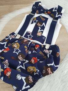 HARRY POTTER print - Boys 1st Birthday - Cake Smash Outfit - Size 1, Nappy Cover, Tie, Suspenders & Singlet Set