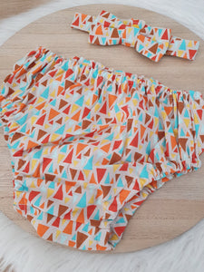 GEOMETRIC Boys Cake Smash Outfit, First Birthday Outfit, Size 0, 2 Piece Set