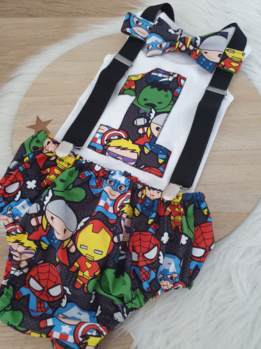 KAWAII MARVEL print - Boys 1st Birthday - Cake Smash Outfit - Size 0, Nappy Cover, Tie, Singlet & Suspenders Set