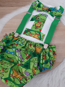 TMNT print - Boys 1st Birthday - Cake Smash Outfit - Size 0, Nappy Cover, Tie, Singlet & Suspenders Set