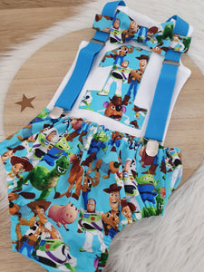 TOY STORY print - Boys 1st Birthday - Cake Smash Outfit - Size 0, Nappy Cover, Tie, Singlet & Suspenders Set