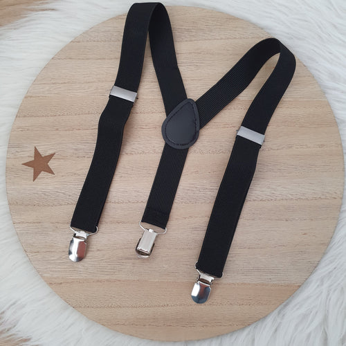 BLACK Baby / Kids Adjustable Suspenders