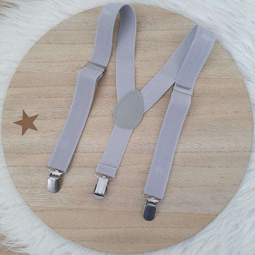 LIGHT GREY Baby / Kids Adjustable Suspenders