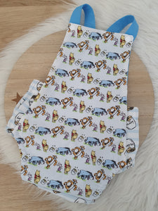 POOH BEAR print - Size 0 Baby Romper, 1st Birthday / Cake Smash Outfit