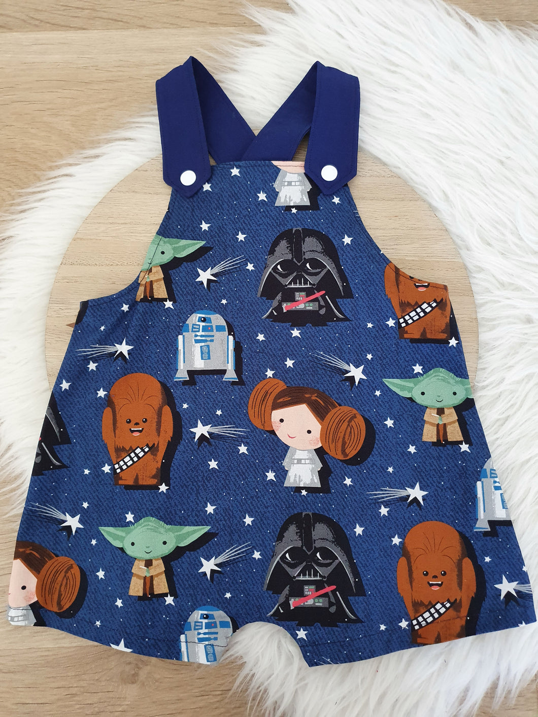 BABY STAR WARS print - Size 1 Baby Overalls, Short Leg Romper / 1st Birthday / Cake Smash Outfit
