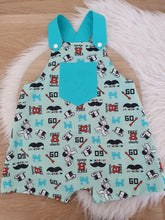 MONOPOLY print - Size 1 Baby Overalls, Short Leg Romper / 1st Birthday / Cake Smash Outfit