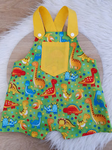 DINOSAUR ON GREEN - Size 0 Baby Overalls, Short Leg Romper / 1st Birthday / Cake Smash Outfit