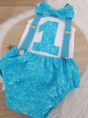 AQUA BLUE - Boys 1st Birthday - Cake Smash Outfit - Size 1, Nappy Cover, Tie, Suspenders & Singlet Set