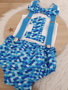 BLUE SCALES - Boys 1st Birthday - Cake Smash Outfit - Size 1, Nappy Cover, Tie, Suspenders & Singlet Set