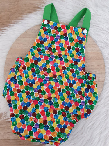 CATERPILLAR SPOTS - Size 1 Baby Romper, 1st Birthday / Cake Smash Outfit