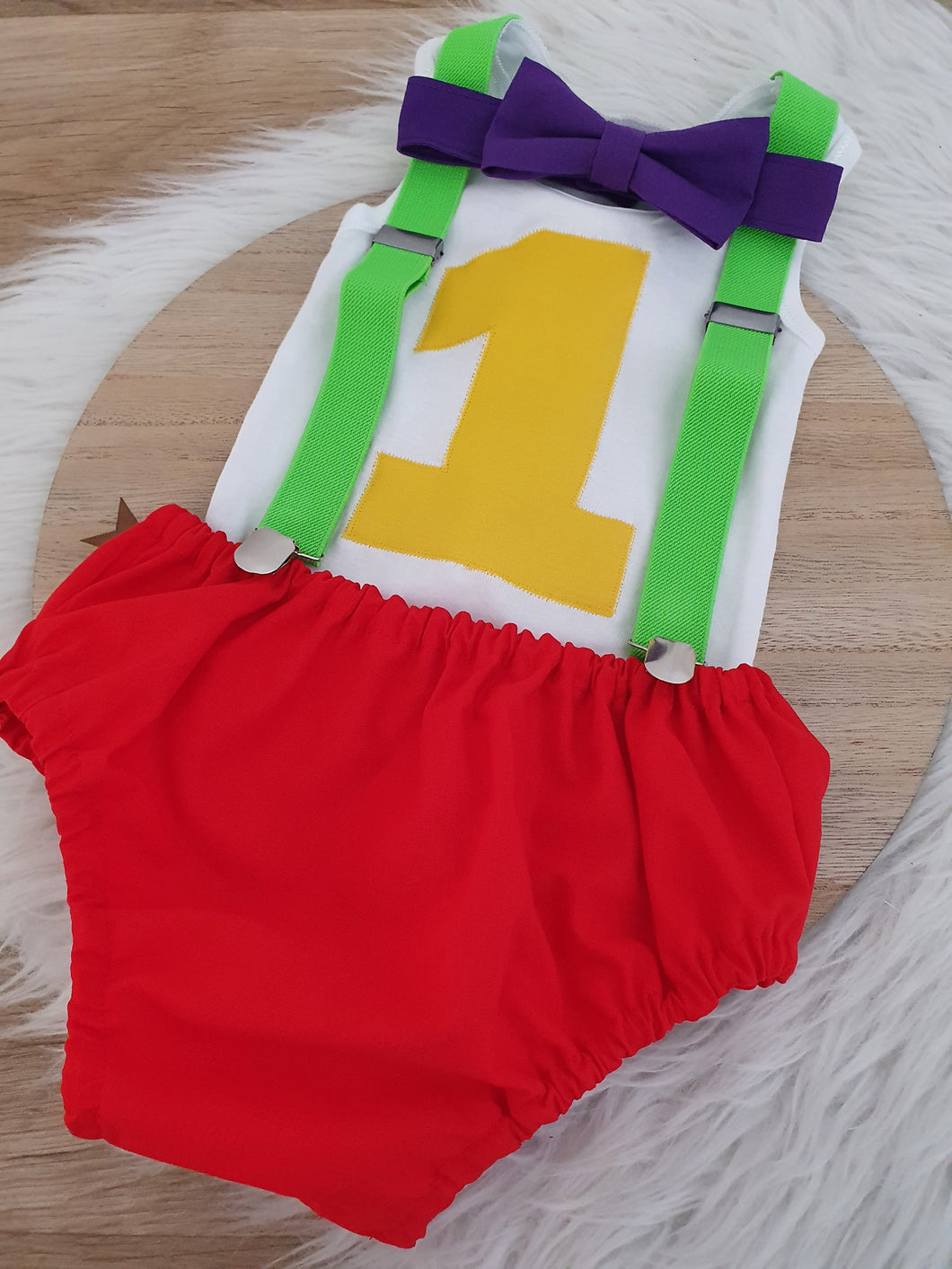 TUBBIES INSPIRED - Boys 1st Birthday - Cake Smash Outfit - Size 1, Nappy Cover, Tie, Suspenders & Singlet Set