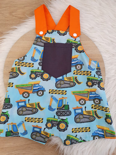 CONSTRUCTION - Size 0 Baby Overalls, Short Leg Romper / 1st Birthday / Cake Smash Outfit