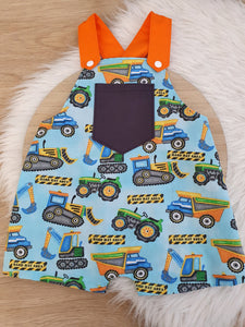 CONSTRUCTION - Size 1 Baby Overalls, Short Leg Romper / 1st Birthday / Cake Smash Outfit