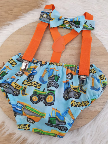CONSTRUCTION - Boys Cake Smash Outfit, First Birthday Outfit, Size 0, 3 Piece Set