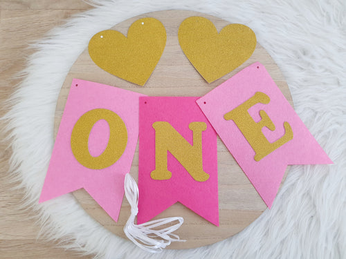 ONE Birthday Bunting - Pink/Gold - DIY Kit