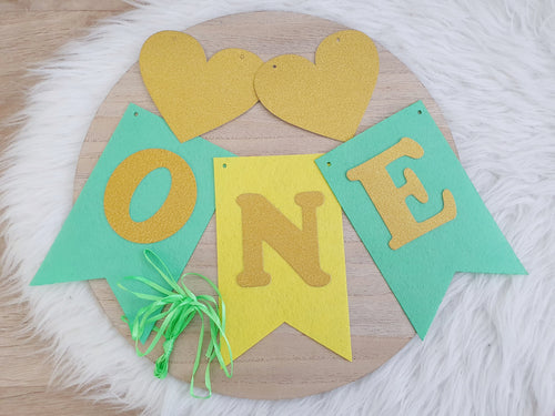 ONE Birthday Bunting - Green/Yellow/Gold - DIY Kit