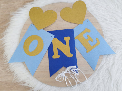 ONE Birthday Bunting - Blue/Gold - DIY Kit