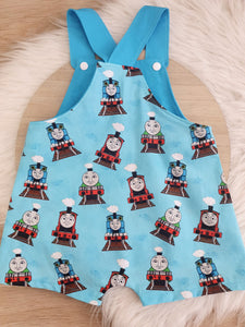 THOMAS print - Size 1 Baby Overalls, Short Leg Romper / 1st Birthday / Cake Smash Outfit