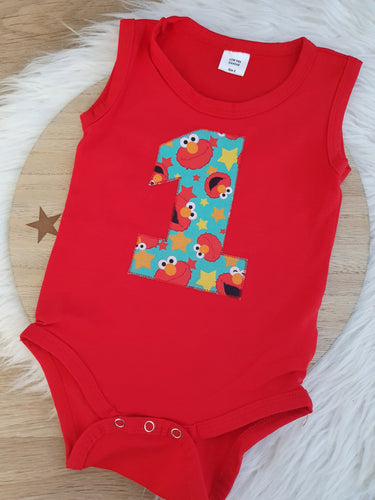 ELMO print - 1st Birthday Outfit - Red Sleeveless Bodysuit Set, Size 1/2