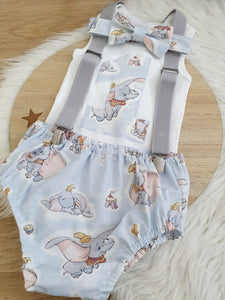DUMBO print - Boys 1st Birthday - Cake Smash Outfit - Size 1, Nappy Cover, Tie, Suspenders & Singlet Set