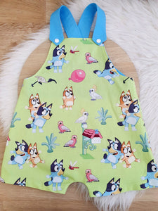 BLUE DOG print - Size 2 Baby Overalls, Short Leg Romper / 1st Birthday / Cake Smash Outfit