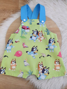 BLUE DOG print - Size 0 Baby Overalls, Short Leg Romper / 1st Birthday / Cake Smash Outfit