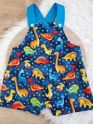 DINOSAUR ON BLUE - Size 1 Baby Overalls, Short Leg Romper / 1st Birthday / Cake Smash Outfit